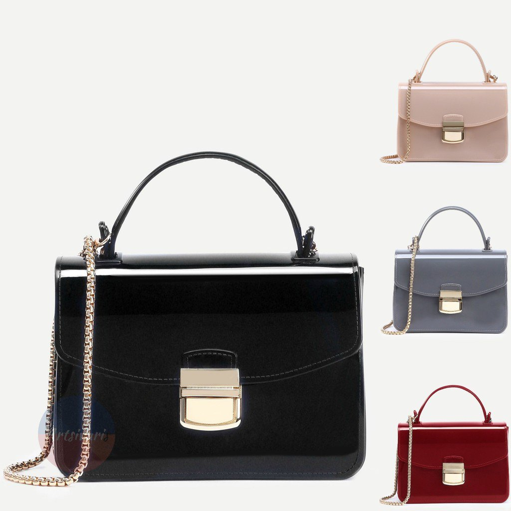 Stylish Pushlock Handbag Plastic Messenger Bag Chain Clutch Fashion Satchel