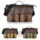 Artsivaris Men Canvas Leather Business Briefcase Travel Large Messenger Bag