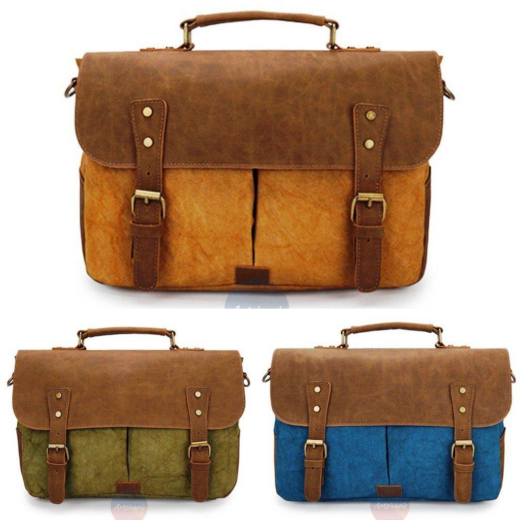 Artsivaris Horse Leather Waterproof Canvas Messenger Vintage School Travel Bag