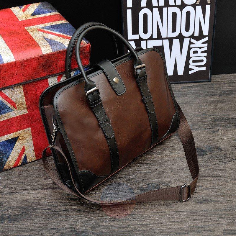 Artsivaris Men Vintage Leather Business Briefcase Brown Attache Laptop Bag