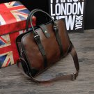 Artsivaris Men Vintage Leather Business Briefcase Brown Attache Laptop Bag