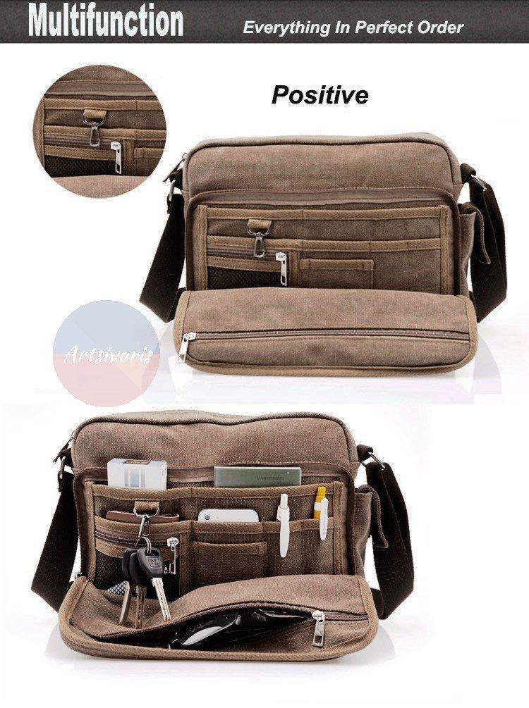 Artsivaris Men Canvas Multifunction Messenger Bag Travel Medium Satchel Bag