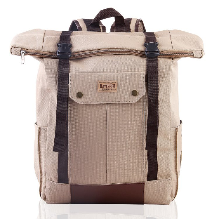 "Stylish Vintage Roll Top Backpack Laptop 14"" Notebook Travel School Awesome Bag"