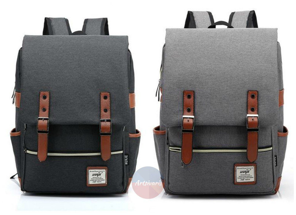 "Stylish Men Women Canvas 14"" Laptop Computer Backpack School Travel Rucksack"