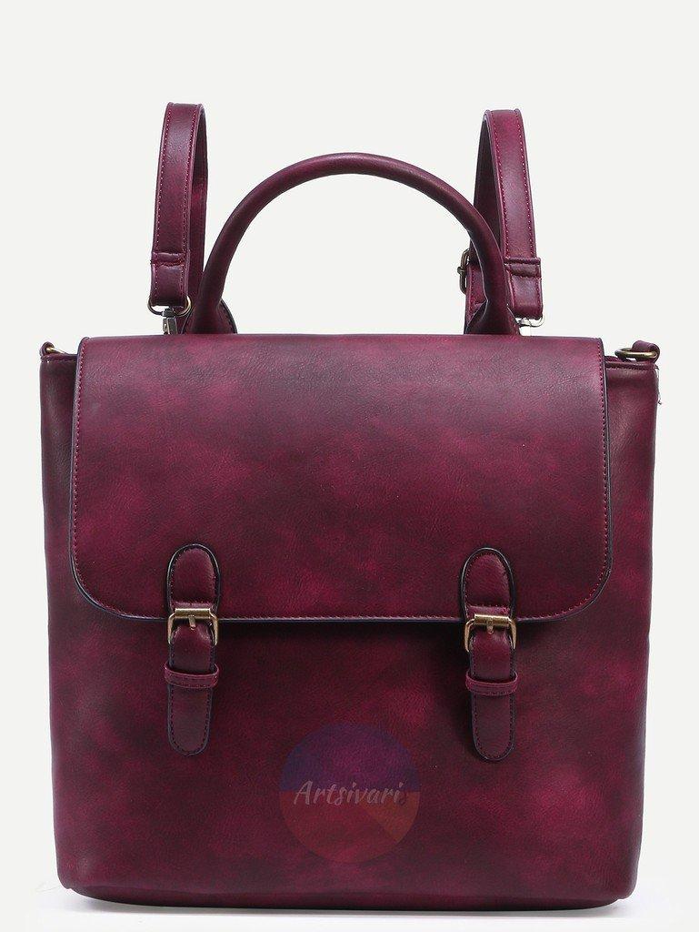 Artsivaris Vintage Leaather Burgundy Backpack Travel School College Bag Rucksack