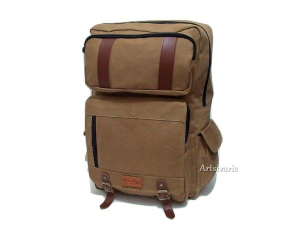 "Stylish Canvas 14"" Laptop Waterproof Backpack Casual Bag Travel School Satchel"