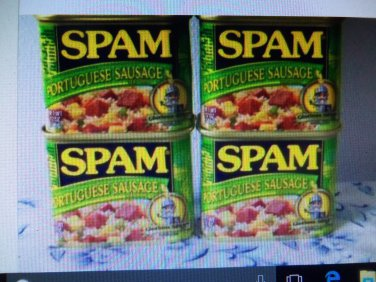 4 Cans Portuguese Sausage Flavored Spam 12oz ea