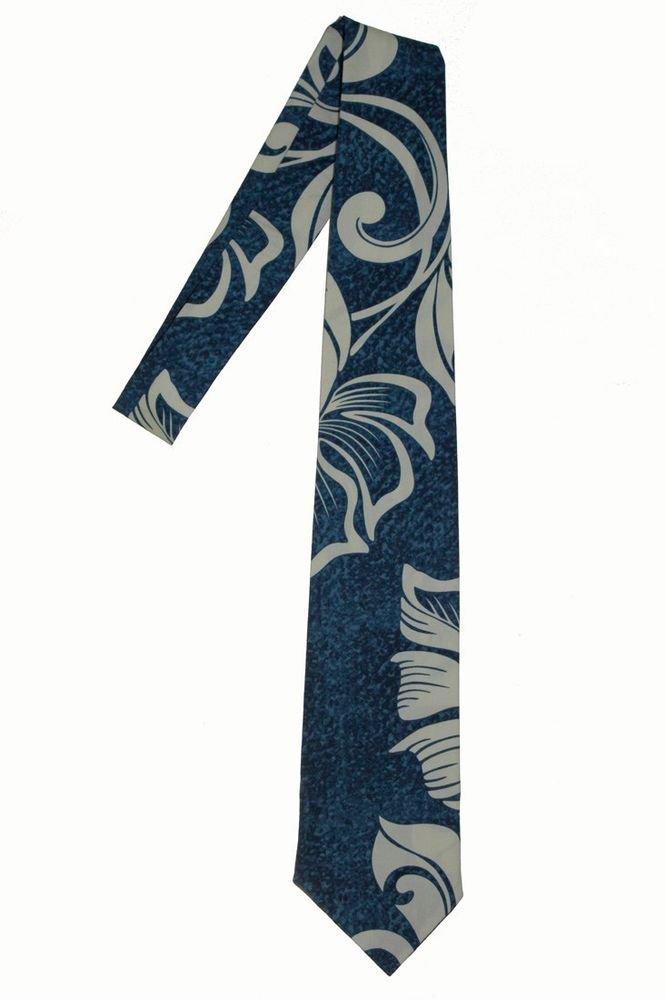 Hawaiian print Necktie; Blue Wave