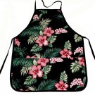 Hawaii Print Aprons - Black Hibiscus Flower