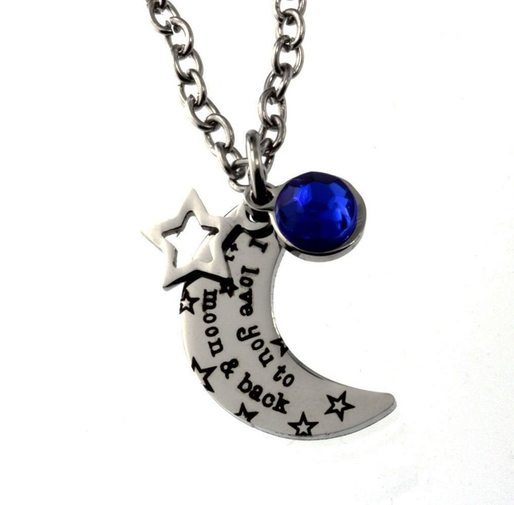 High Quality Stainless Steel Pendant, I Love You To The Moon And Back Necklace; Blue Gem