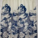 Hawaiian Fabric Shower Curtain, Blue Koi Fish