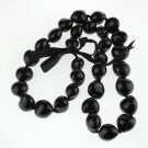 Tropical Hawaii Natural Genuine Kukui Nut Necklace, Hawaii Lei,  Nature Black color