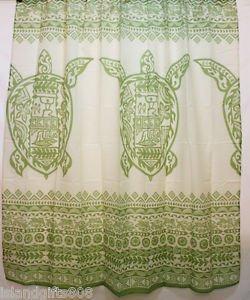Hawaiian 100% Polyester Fabric Shower Curtain, Green Sea Turtle Shower Curtain