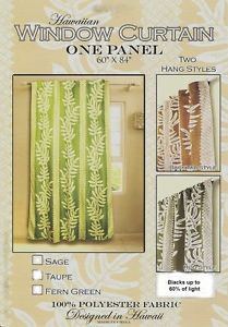 One Panel Window Treatments Curtain, Tropical Hawaii Fern Leafs