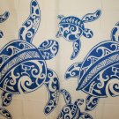 Hawaiian 100% Polyester Fabric Shower Curtain; Blue Sea Turtle