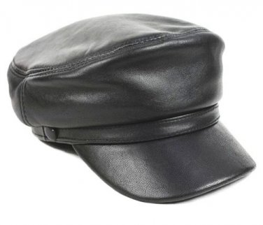 New Men's (Unisex) 100% Genuine Leather Police Hat� Newsboy caps �Navy hat