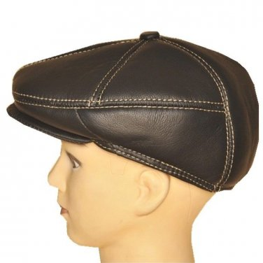 "New Men�s ""100% Real Cowhide"" Leather Newsboy Beret / Golf Hat *Black/Brown"