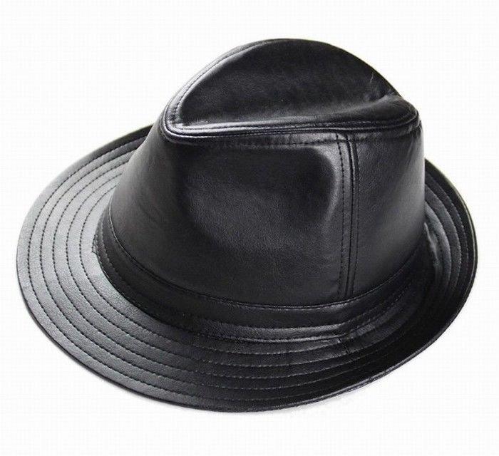 New Men's 100% Real Leather Black Bucket Cap/ Fedora hat /Gentleman Hat