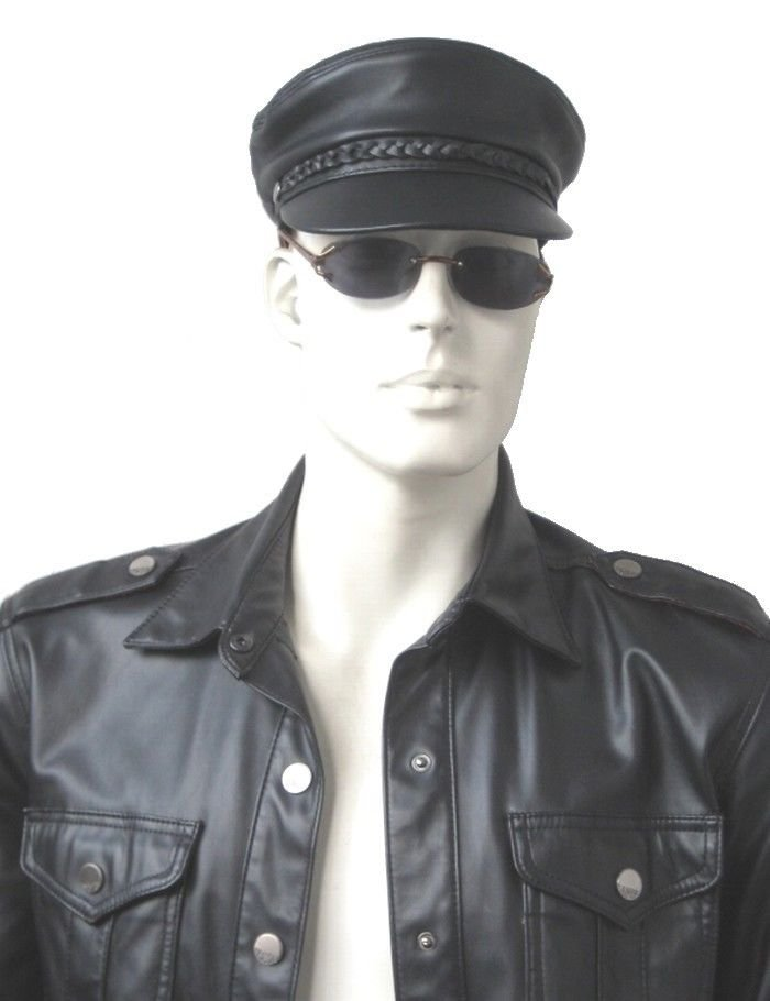 New Men's 100% Real Leather Military Hat /Newsboy Caps / Harley riders hat