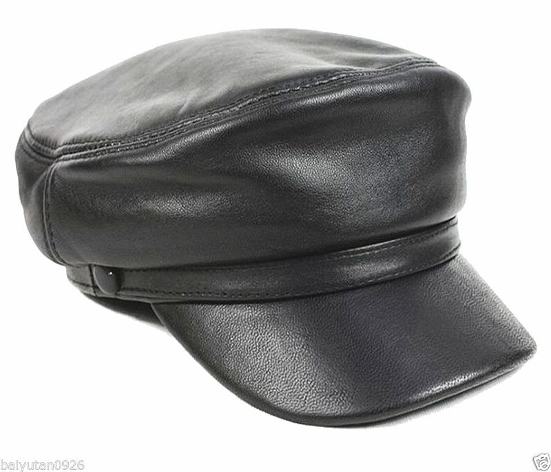 New Men's Women's 100% Genuine Leather Police Hat/ Newsboy caps/ Navy hat