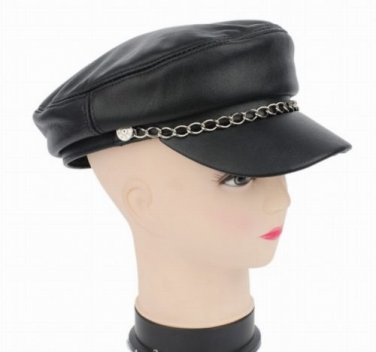 Men's / Women's Real Sheepskin Leather Black Beret Flat Top Cap Hat /Hip-hop hat