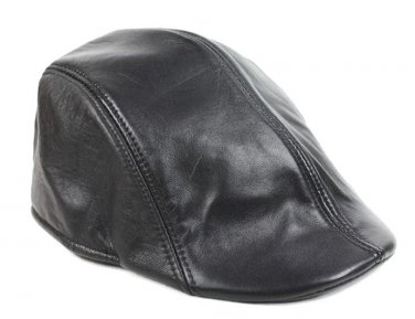 Women's Black Real Leather Fashion Newsboy Ivy Cabbie cap Gatsby Flat Golf Hat