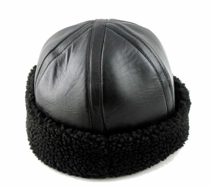 New style Men's Real Sheepskin Leather Warm winter hat / Cabbie cap