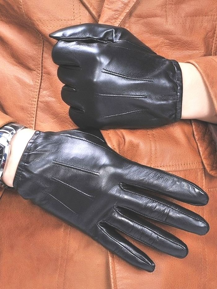 Men's Fall Winter Stylish Deluxe 100%Genuine Leather Wrist Gloves Driving Gloves
