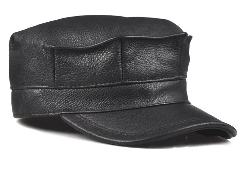 Men's High-grade first layer Cowhide Newsboy Cadet Military Black Brown Golf Hat