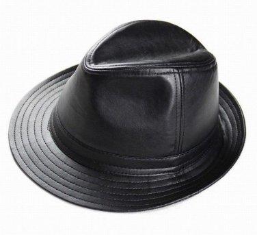 Men's Real Sheepskin Leather Black Bucket Cap/ Fedora hat /Gentleman Hat *3Color
