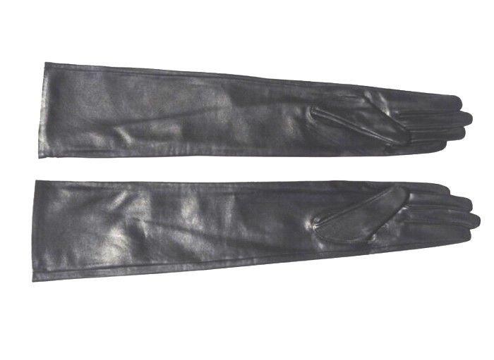 "80cm(31.5"") Super Long Style Black Sheepskin Leather Evening Gloves Opera Gloves"
