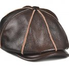 New Men's High-grade first layer Brown Cowhide Leather Berets Golf Hat