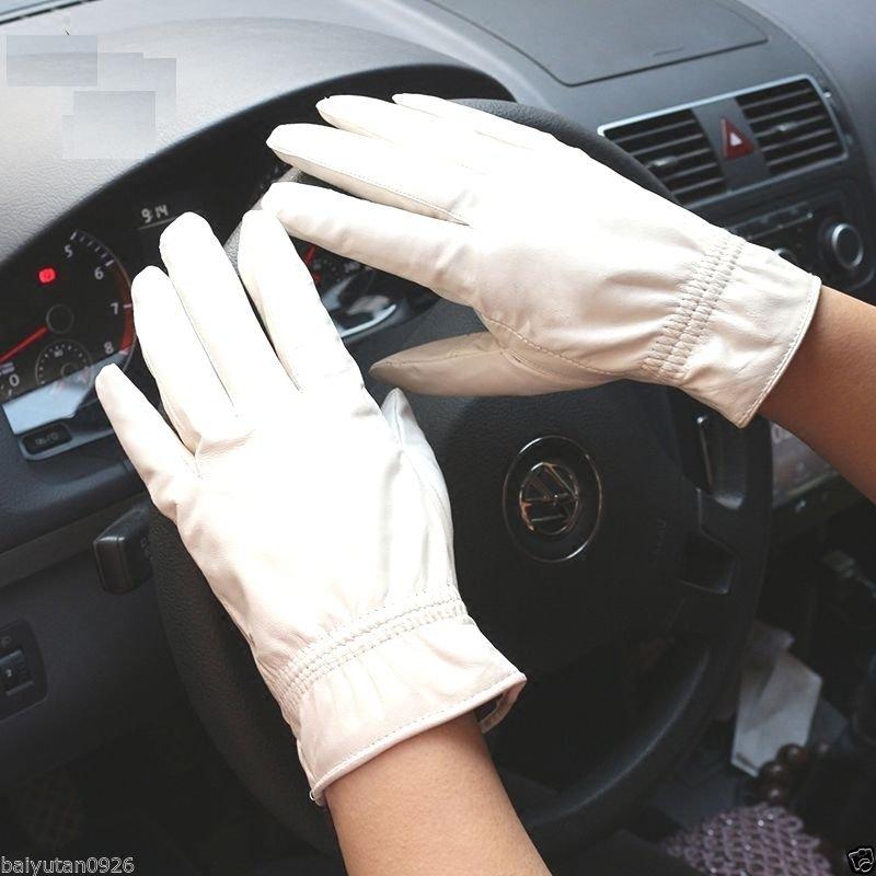 New Men's/Women's 100% leather white/black Driving gloves,Wedding gloves