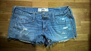 Womens Blue & white striped distressed short shorts juniors size 3 w26 Hollister