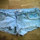 Hollister distressed denim short shorts juniors size 3 w26 light blue