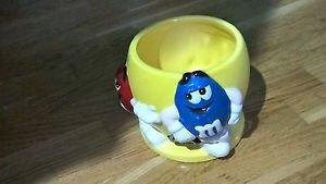 Original M&M's BRAND® Yellow Ceramic Candy Bowl Red & Blue!