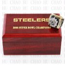 Year 2005 Pittsburgh Steelers Super Bowl Championship Ring 10-13Size With High Quality Wooden Box