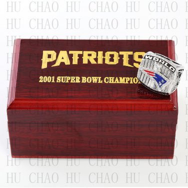 Year 2001 New England Patriots Super Bowl Championship Ring 10-13Size  With High Quality Wooden Box