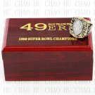 Year 1989 San Francisco 49ers Super Bowl Championship Ring 10-13Size With High Quality Wooden Box