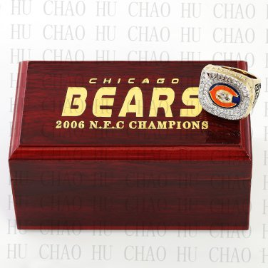Year 2006 Chicago Bears National Football Championship Ring 10-13SizeWith High Quality Wooden Box