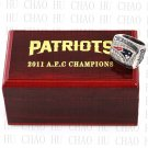 2011 AFC New England Patriots American Football Championship Ring 10-13Size Wooden Box
