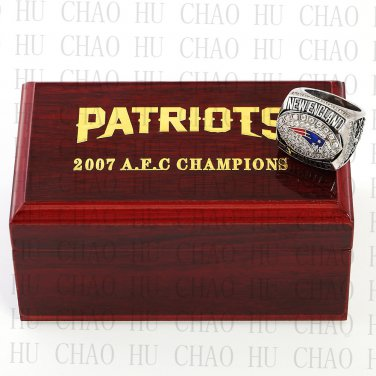2007 AFC New England Patriots American Football Championship Ring 10-13Size  Wooden Box