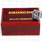 2013 AFC Denver Broncos American Football Championship Ring 10-13Size Wooden Box
