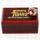 Year 1991 MLB Minnesota Twins World Series Championship Ring 10-13Size  With High Quality Wooden Box
