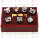 One set (7PCS)  New England Patriots Championship Ring With Wooden Box Replica Rings LUKENI