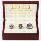(3PCS) 2004 2007 2013 Boston Red Sox World Series Championship Ring With Wooden Box