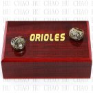 One set (2PCS) 1970 1983 Baltimore Orioles World Series Championship Ring With Wooden Box
