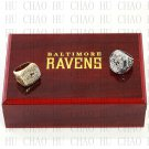 One set (2PCS) 2000 2012 Super Bowl Baltimore Ravens Championship Ring With Wooden Box Replica
