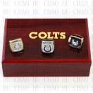 One set (3PCS) 1970 2006 2009 Indianapolis Colts Championship Ring With Wooden Box Replica
