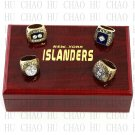 (4PCS) 1980 1981 1982 1983 New York Islanders Stanley Cup Championship Ring With Wooden Box